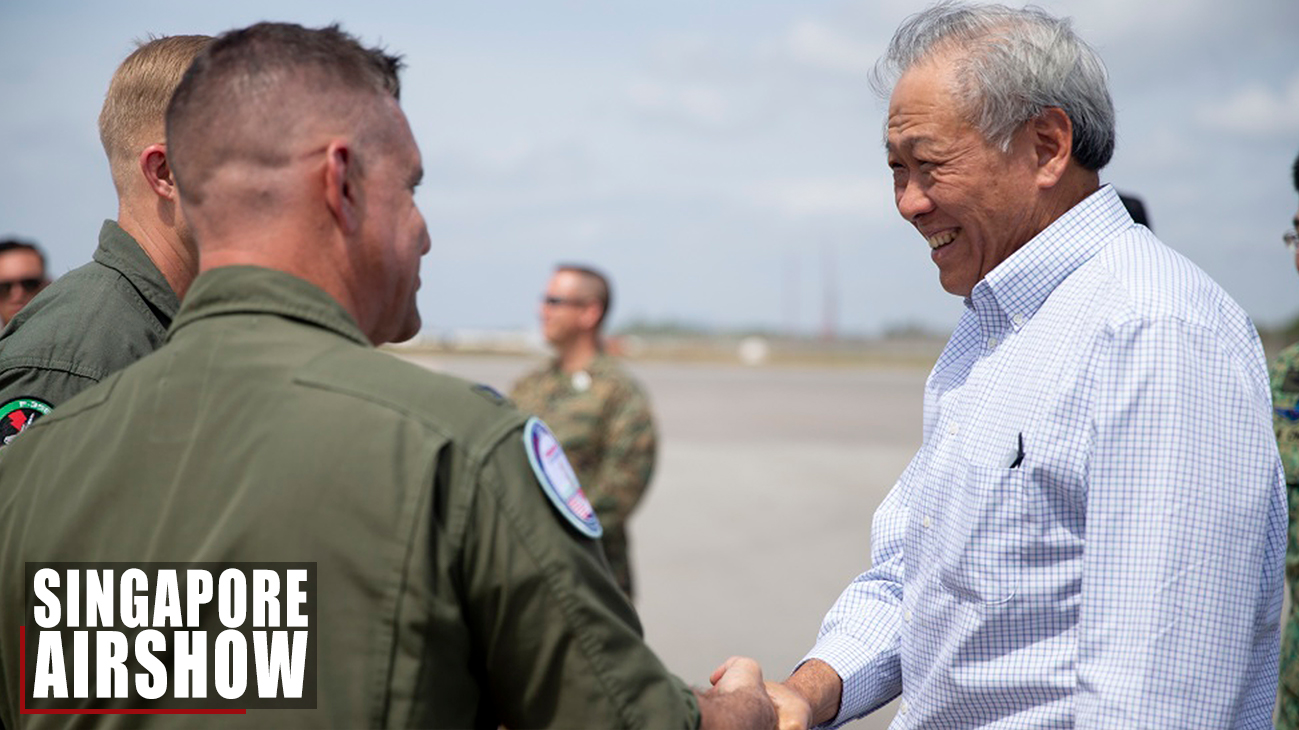 Singapore Minister of Defense visits F-22, F-35B Pilots
